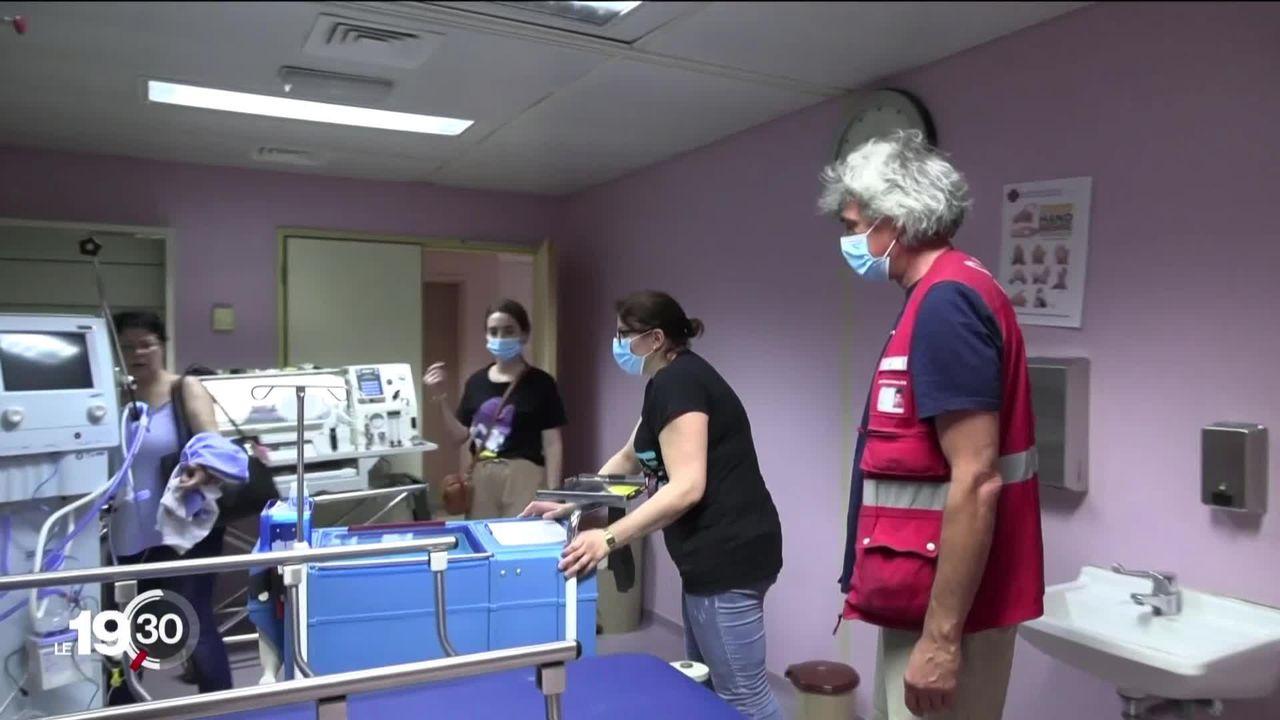 Reportage à Beyrouth avec les experts du Corps suisse d'aide humanitaire actifs auprès des femmes enceintes. [RTS]