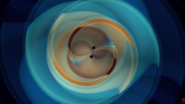 Extrait d'une simulation numérique de fusion des deux trous noirs.  img avec CP CNRS N. Fischer, H. Pfeiffer, A. Buonanno (Max Planck Institute for Gravitational Physics) Simulating eXtreme Spacetimes (SXS) Collaboration [N. Fischer, H. Pfeiffer, A. Buonanno (Max Planck Institute for Gravitational Physics) - Simulating eXtreme Spacetimes (SXS) Collaboration]