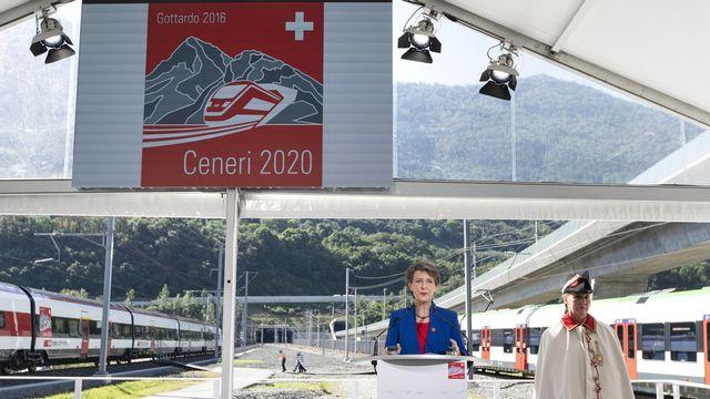 Simonetta Sommaruga lors de l'inauguration du tunnel du Monte Ceneri, le 4 septembre 2020. [Gaetan Bally - Keystone]