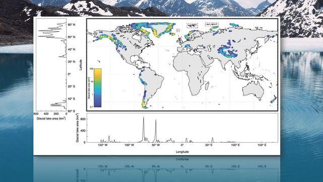 Répartition des lacs glaciaires dans le monde, en fonction de la surface (km2) [Nature/Dan H. Shugar]