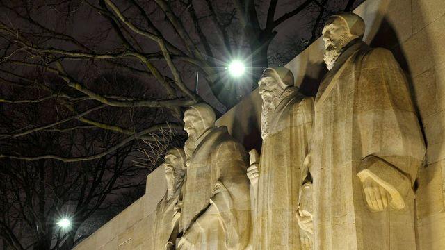Le Mur des Réformateurs du Parc des Bastions à Genève. [Martial Trezzini - Keystone]