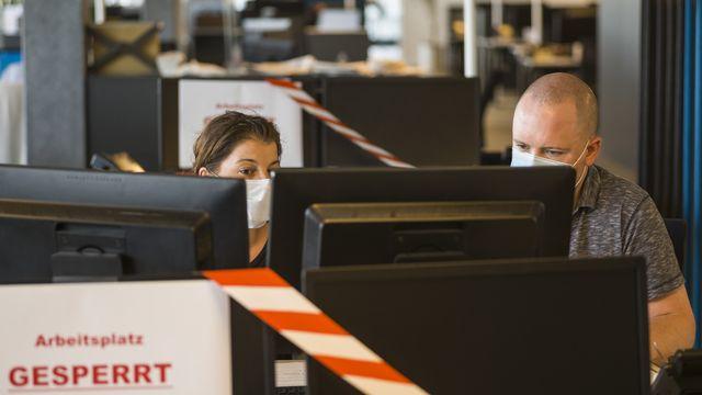 Jusqu'à 36% des employés ont touché le chômage partiel en Suisse. [Alessandro della Valle - Keystone]