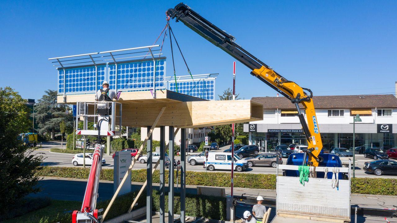 Une section du futur viaduc en bois qui supportera l'autoroute à vélos projetée entre Pratteln et Augst, dans le canton de Bâle-Campagne. [Baselbieter Regierung - DR]