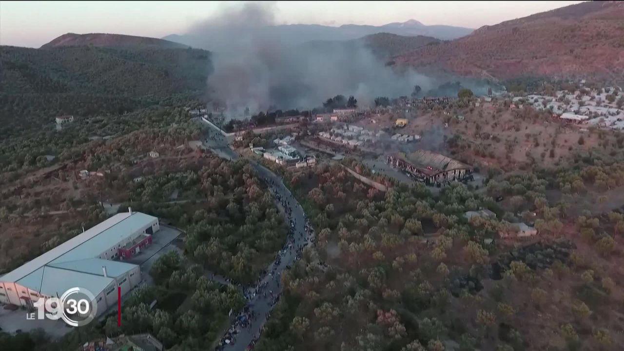 Le camp de réfugiés de Lesbos a été ravagé par les flammes. L'Allemagne appelle à la solidarité. [RTS]