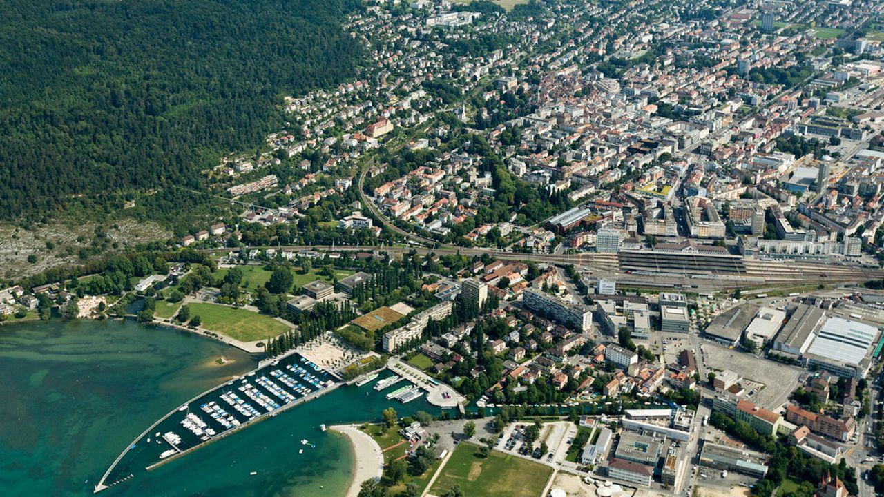 Une vue de la ville de Bienne. [Alessandro Della Bella - Keystone]