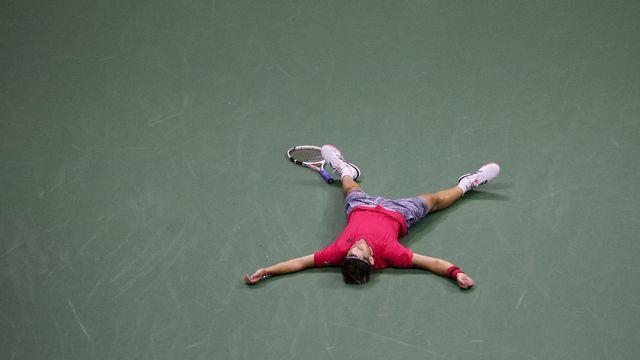 Dominic Thiem, enfin vainqueur en Grand Chelem. De quoi tomber à la renverse! [Al Bello - AFP]