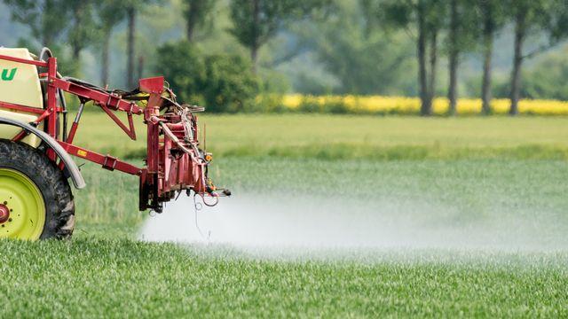 Un tracteur épand des pesticides. [Patrick Pleul - DPA/Keystone]