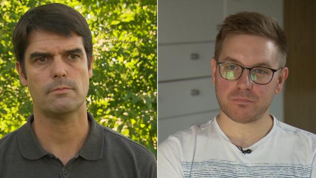 Flavio (à droite) et Mickaël (à gauche) sont deux pères défendant deux visions opposés du congé paternité. [Radio Télévision Suisse]