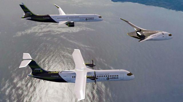 Une image de synthèse montre les trois prototypes d'avion à hydrogène d'Airbus. [Airbus/AFP]