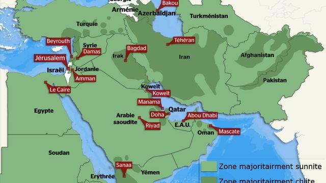 Les zones sunnites et chiites au Moyen-Orient en 2013. [RTS]