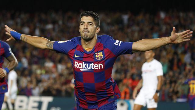 Luis Suarez est le troisième meilleur buteur de l'histoire du Barça. [Joan Monfort - Keystone]