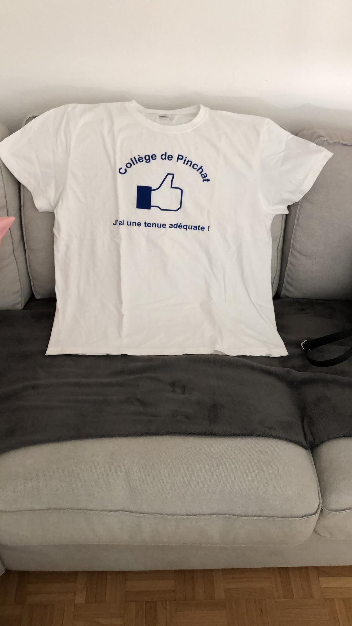 """Le t-shirt remis aux élèves portant une tenue jugée """"inapproprié"""" à la régulation du cycle Pinchat. [DR]"""