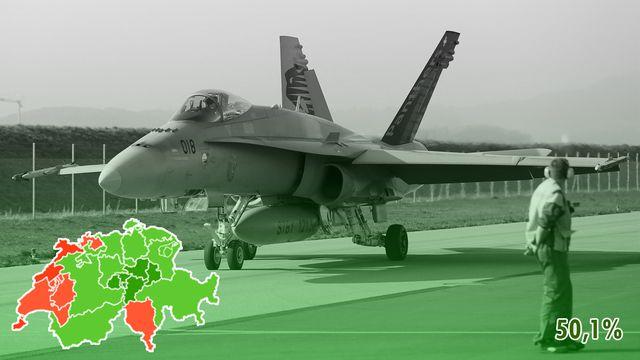 Les Suisses valident pour 8000 voix l'achat de nouveaux jets de combat. [Peter Klaunzer - Keystone]