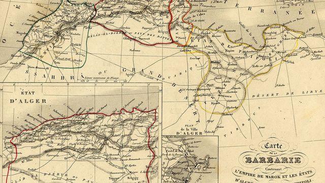 Carte de la Libye - alors appelée Etat de Tripoli - et du Maghreb en 1843