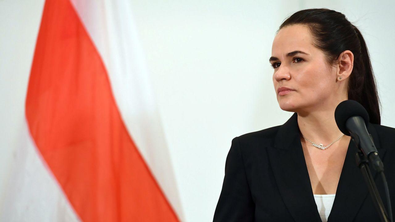 "L'opposante biélorusse Svetlana Tikhanovskaïa appelle Macron à être ""un médiateur"". [Piotr Nowak - Keystone]"