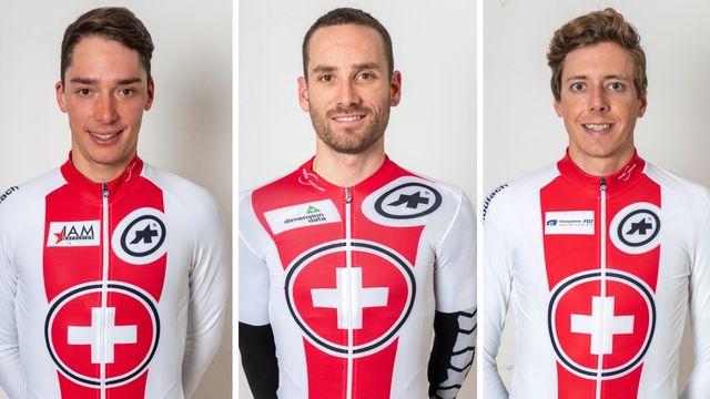 Simon Pellaud, Danilo Wyss et Kilian Frankiny sont les trois Helvètes engagés sur le Tour d'Italie cette année. [Maxime Schmid - Keystone]