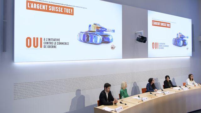 La conférence de presse des initiants ce 1er octobre à Berne. [Anthony Anex - Keystone]