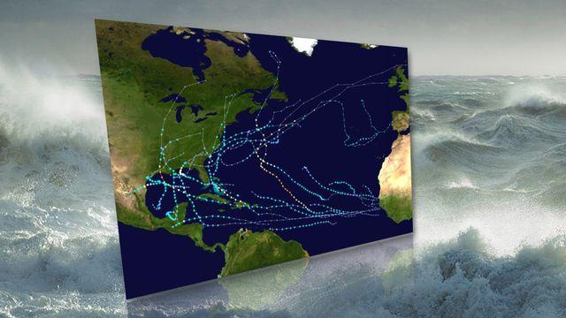 Trajectoires des tempêtes tropicales et des ouragans sur l'Atlantique pendant la saison 2020 [NHC]