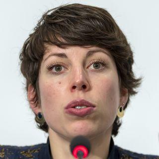 Lisa Mazzone défend la loi sur le CO2 adoptée par le Parlement. [Martial Trezzini - Keystone]