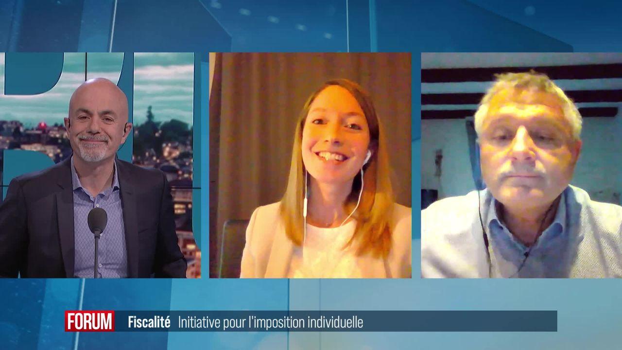 Initiative des femmes PLR pour une imposition individuelle: débat entre Johanna Gapany et Charles Juillard [RTS]