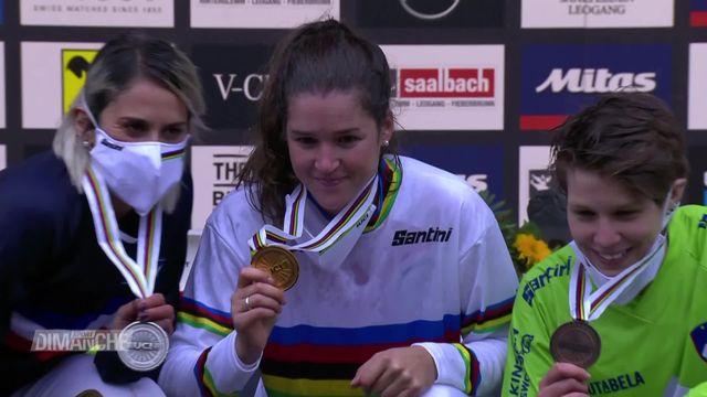 VTT, Leogang (AUT): Camille Balanche est devenue championne du monde de descente. [RTS]