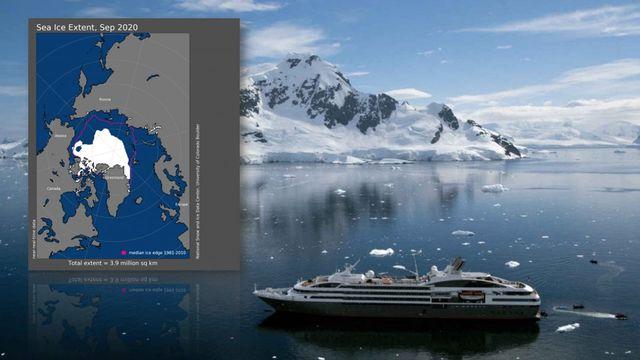 """""""Le Boréal"""" dans l'archipel du Svalbard / Extension de la banquise le 10 septembre 2020. Le trait rouge représente l'étendue moyenne entre 1981 et 2010 [Ponant/NSIDC]"""