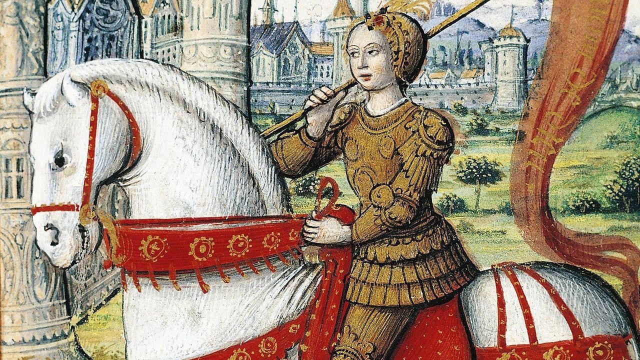 Jeanne d'Arc chevauchant devant Orléans. [DP]