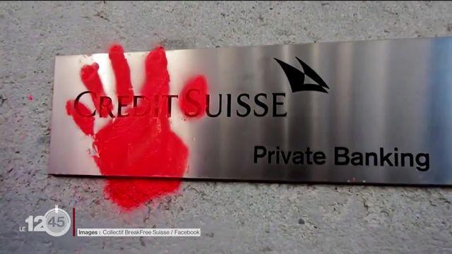 L'état de nécessité a été reconnu pour un militant du collectif BreakFree Suisse qui avait peint les murs du Crédit Suisse [RTS]