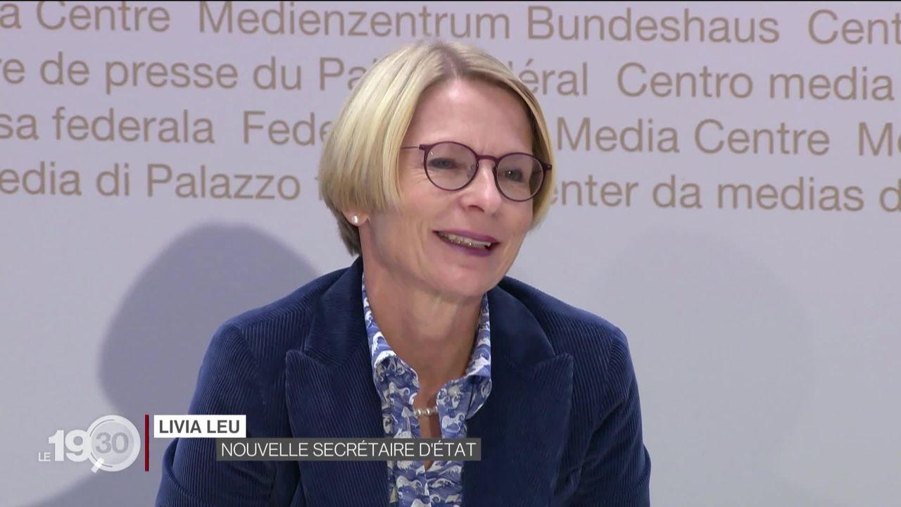 Livia Leu est la nouvelle négociatrice en cheffe avec l'Europe. Elle devra négocier l'accord-cadre avec Bruxelles. [RTS]