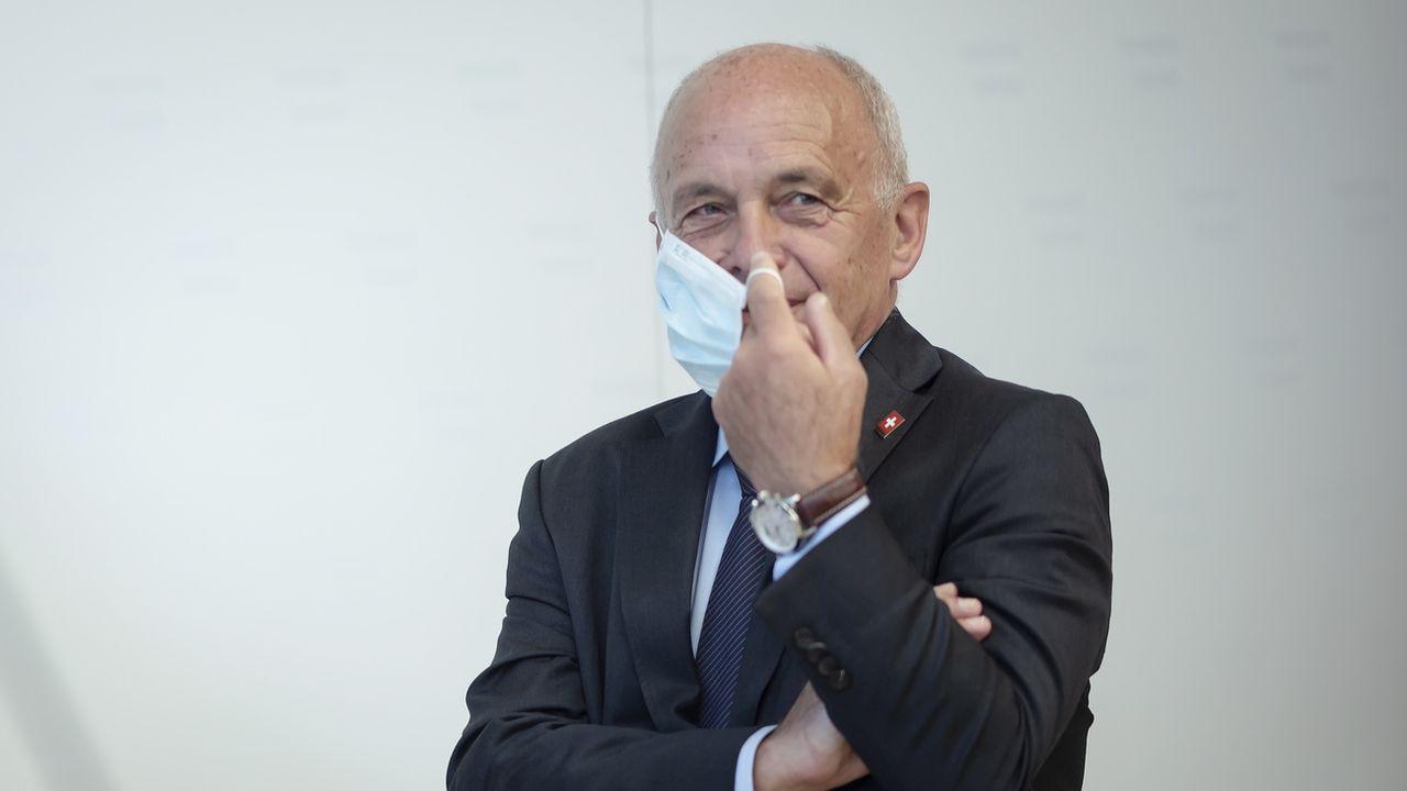 Ueli Maurer photographié le 25 août 2020 à Vienne lors d'une conférence de presse. [Christian Bruna - Keystone]