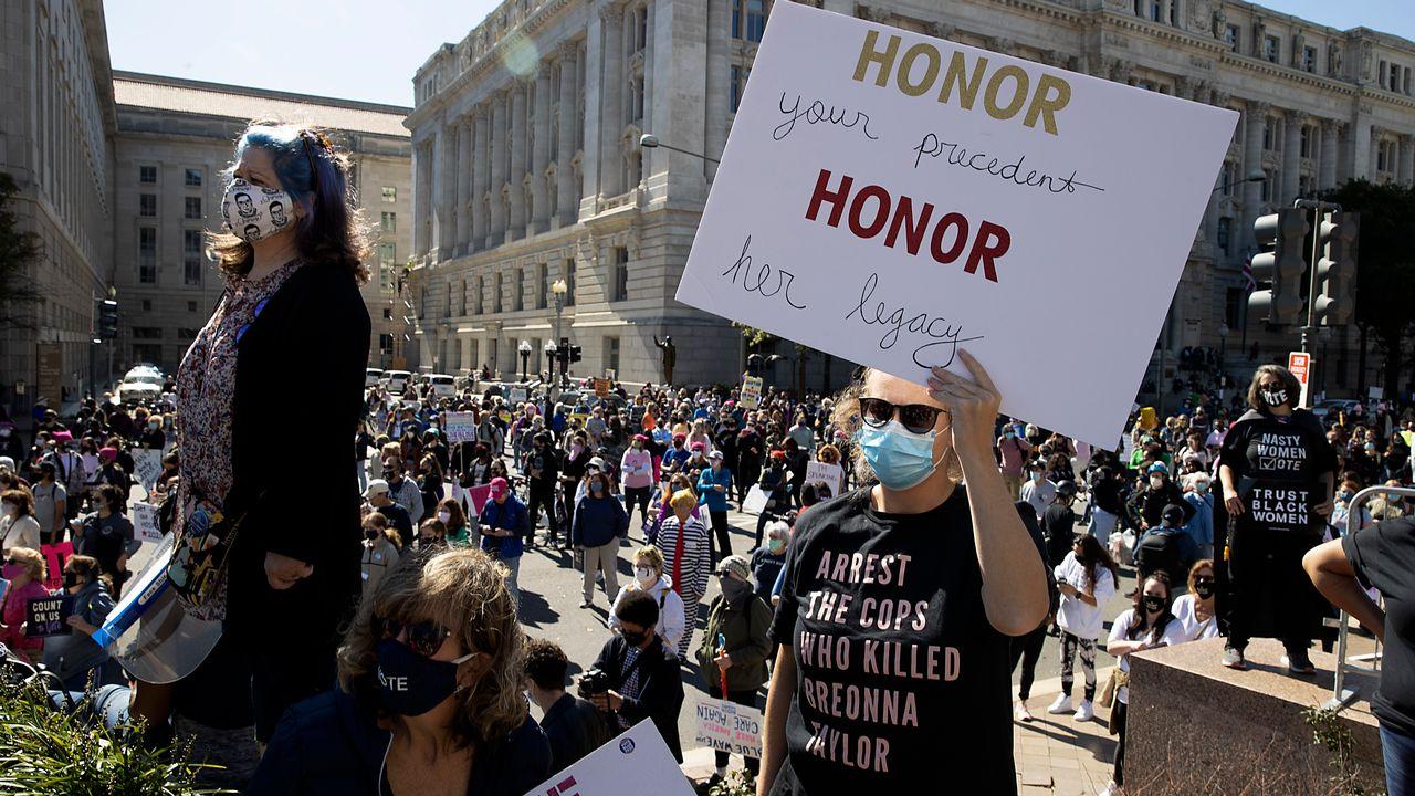 Manifestations aux Etats-Unis contre Donald Trump et la nomination d'Amy Coney Barret à la Cour suprême [Tasos Katopodis - AFP]