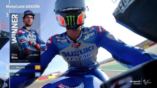 GP d'Aragon (#9), motoGP: Alex Rins (ESP) s'impose devant A. Marquez (ESP) 2e et Mire (ESP) 3e [RTS]