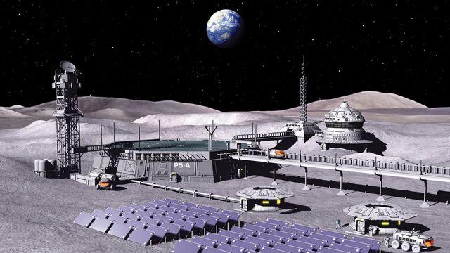 Modélisation d'une base lunaire, qui pourrait être connectée au réseau 4G par Nokia. [P.Carril/Novapix/Leemage - AFP]