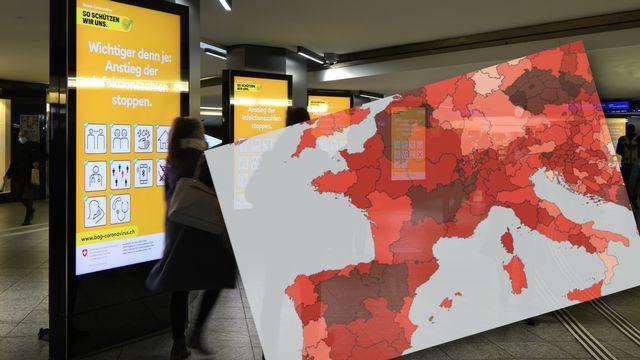Des cantons suisses sont parmi les régions les plus touchées par de nouveaux cas de Covid-19. [ANTHONY ANEX - Keystone-ATS / Montage]