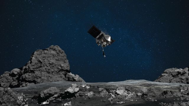 Cette photo d'illustration montre l'approche de la sonde Osiris sur l'astéroïde Bennu. [EPA/NASA/Goddard/University of Arizona - Keystone]