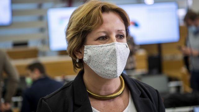 Vu leur bon résultat au premier tour pour le gouvernement, les Verts jurassiens maintiennent leur candidate Céline Robert-Charrue Linder au second. [Jean-Christophe Bott - KEYSTONE]