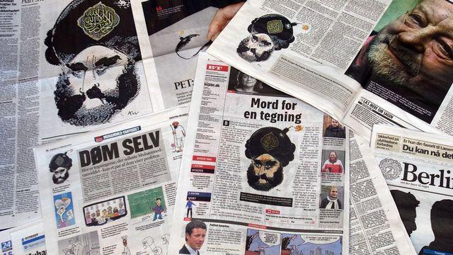 Une photo prise le 13 février 2008 montrant des Unes de journaux danois. [Scanpix Danemark - AFP]