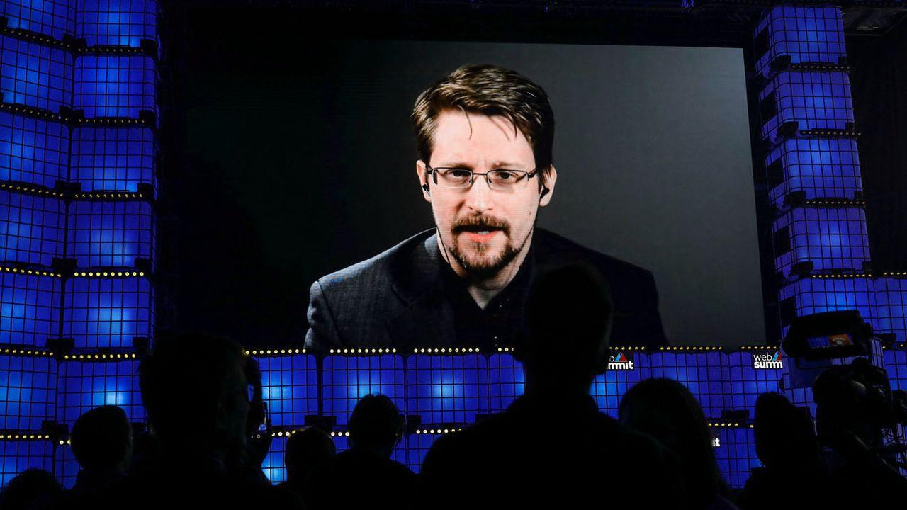 Intervention d'Edward Snowden lors d'un congrès à Lisbonne, 04.11.2019. [Miguel A. Lopes - EPA/Keystone]