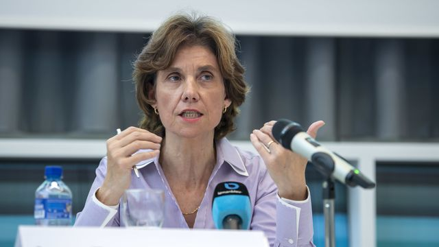 La présidente du Conseil d'Etat genevois Anne Emery-Torracinta. [Martial Trezzini - Keystone]