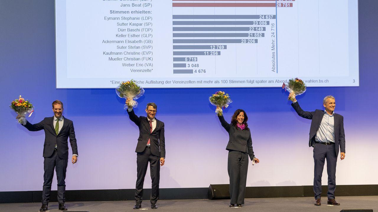 Trois des cinq membres sortants du Conseil d'Etat et un nouveau candidat ont atteint la majorité absolue au premier tour. [Georgios Kefalas - Keystone]