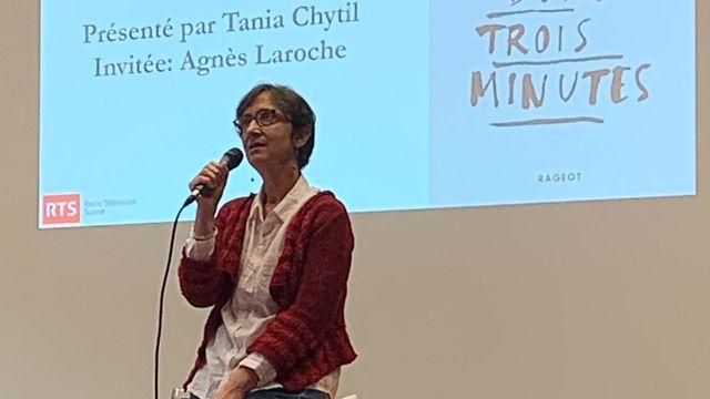 Agnès Laroche lors de la remise du Prix RTS Littérature Ados le 28 octobre 2020 à Genève. [Christine Pompei - RTS Découverte]