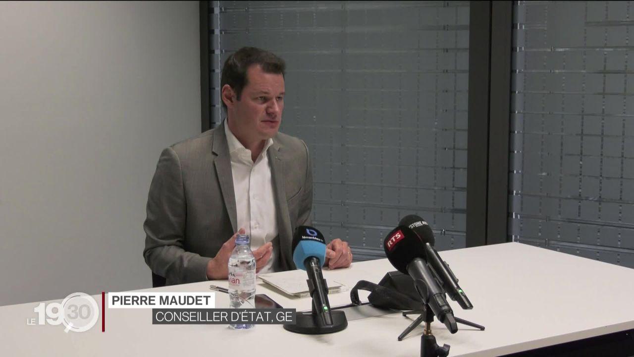 Pierre Maudet a annoncé sa démission. Le conseiller d'État genevois sera par ailleurs candidat à sa propre succession [RTS]
