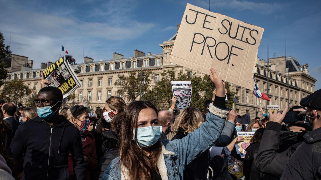 Manifestation en hommage à Samuel Paty à Paris, 18.10.2020. [Hans Lucas - AFP]