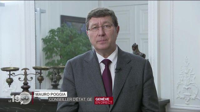 Mauro Poggia, conseiller d'Etat Genevois, justifie les mesures cantonales face à la surcharge des hôpitaux. [RTS]