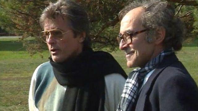 Alain Delon et Jean-Luc Godard en 1989. [RTS]