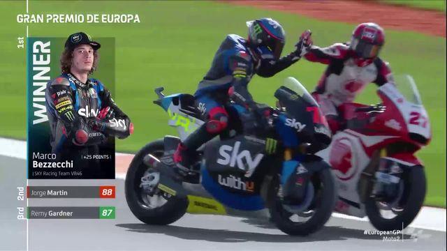 GP de Valence (#11), Moto2: Bezzecchi (ITA) s'impose devant Marquez (ESP) 2e et Gardner (AUS) 3e [RTS]