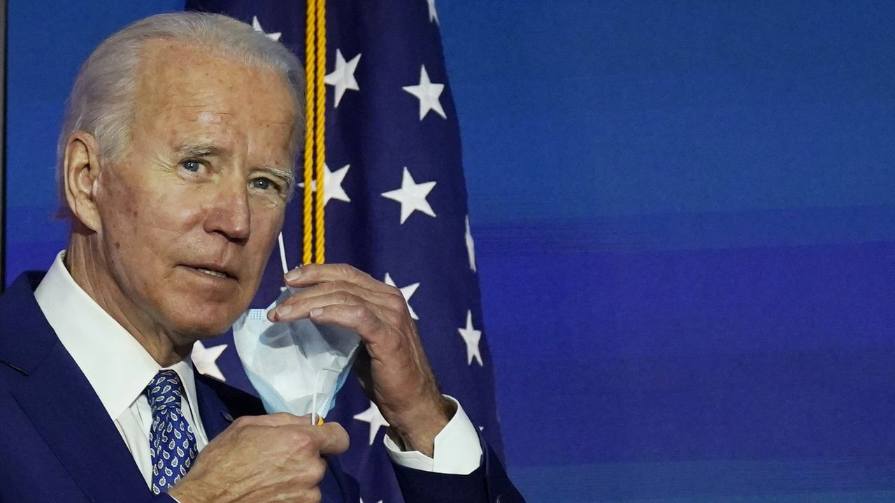 Joe Biden lors de sa conférence de presse à Wilmington, lundi 09.11.2020. [Carolyn Kaster - AP/Keystone]