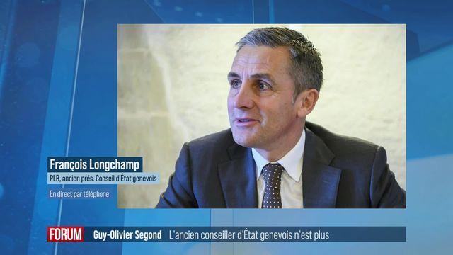 François Longchamp rend hommage à l'ancien conseiller d'État genevois Guy-Olivier Second [RTS]