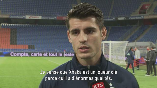 """Alvaro Morata: """"Xhaka apporte de l'équilibre à l'équipe de Suisse"""" [RTS]"""