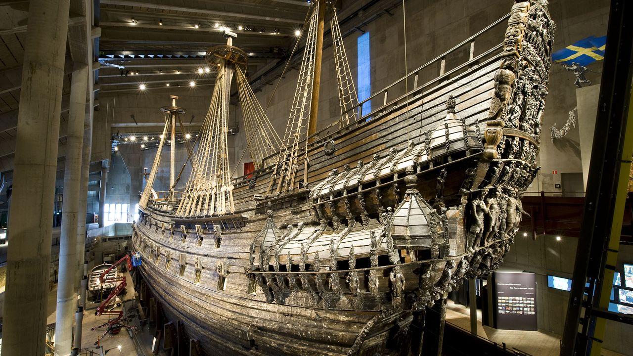 L'épave du navire Vasa au Vasa Museum de Stockholm. JONATHAN NACKSTRAND AFP [JONATHAN NACKSTRAND - AFP]